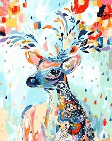 Картина раскраска по номерам 30x40 Разноцветный олень
