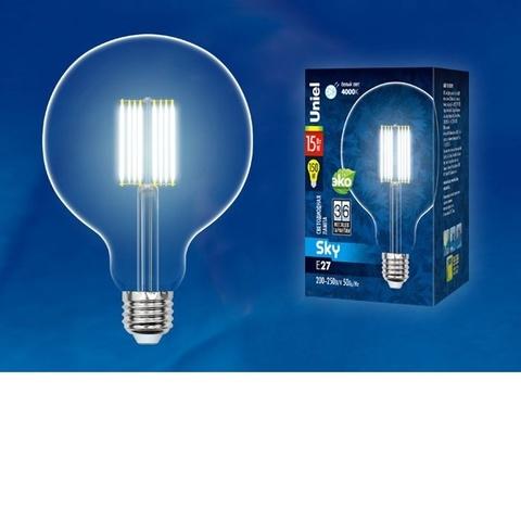 Лампа светодиодная UNIEL LED-G125-15W/4000K/E27/CL PLS02WH