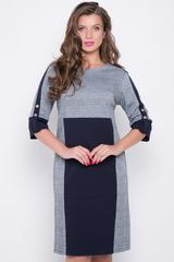 <p>Актуальное платье из вискозного джерси полуприлегающего силуэта. Платье с контрастными вставками, лампасами и манжетами черничного цвета. Отличный модный деловой вариант. Ткань очень приятная к телу. (Длины: 46-48=99см; 50-52=100см; 54= 101 см)&nbsp;</p>
