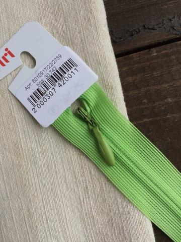 Молния потайная Т3, Riri, 22см, ярко-зеленый