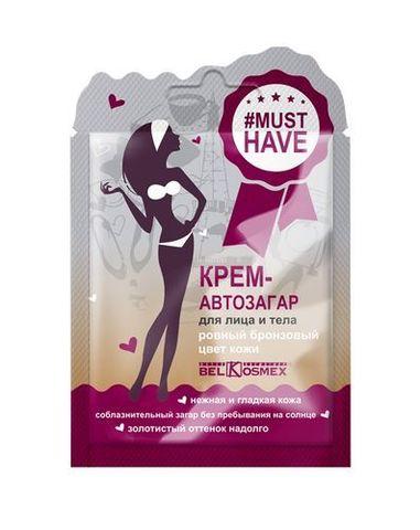 BelKosmex Musthave Крем-автозагар для лица и тела ровный бронзовый цвет кожи 10г