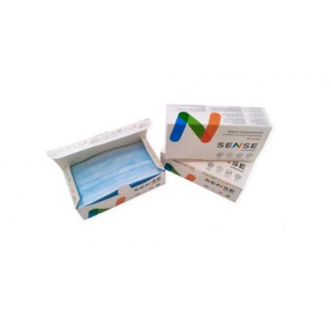 Маска медицинская одноразовая Sense 3х-слойная голубая на резинке (50 штук в упаковке)