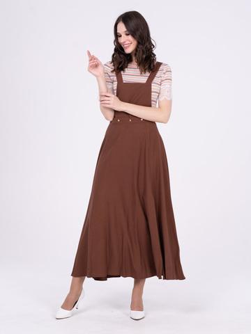 Фото коричневое платье-трансформер на бретелях и длинной расклешенной юбкой с разрезом - Платье З282-178 (1)
