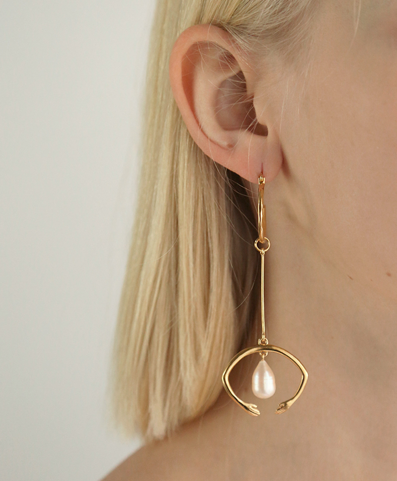 Серьги White Nights Dropping Arch Earpieces gold