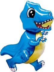 Шар (30''/76 см) Ходячая Фигура, Маленький динозавр, Синий, в упаковке 1 шт.