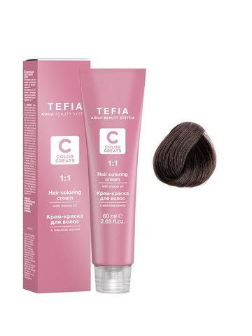 Крем-краска для волос с маслом монои 5.00 светлый брюнет интенсивный 60 мл COLOR CREATS Tefia