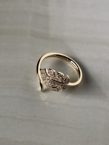 Кольцо Фиери с цирконами, позолота