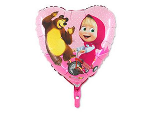 Фольгированный шар сердце Маша и медведь