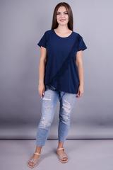 Джулия. Универсальная блузка плюс сайз. Синий.