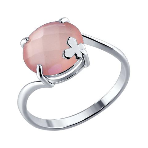 92010663 - Кольцо из серебра с розовым агатом