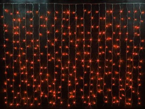 Гирлянда светодиодный занавес 2*1,5, с контроллером, цвет Красный, провод прозрачный
