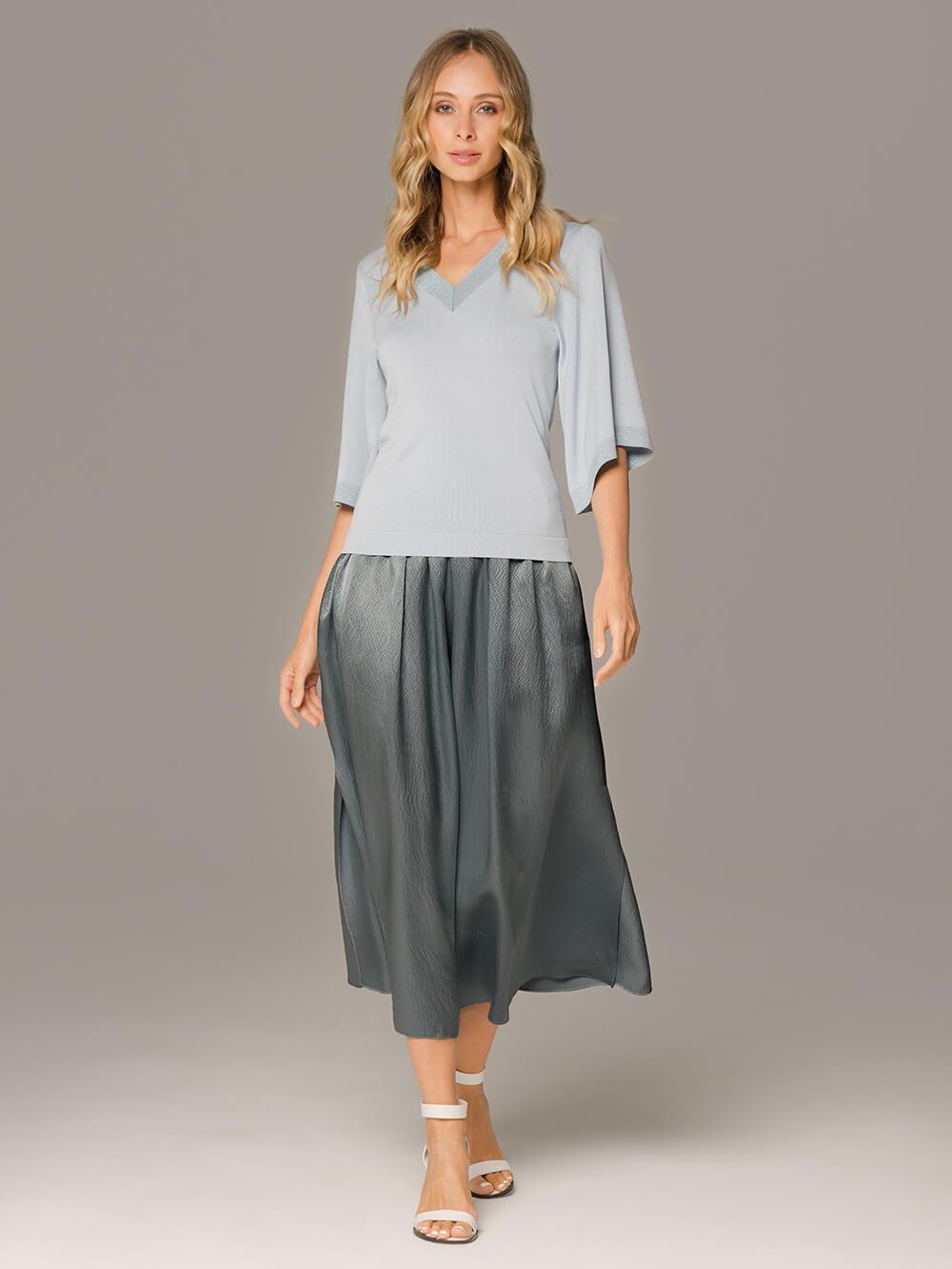 Женская юбка темно-серого цвета из 100% шелка - фото 1