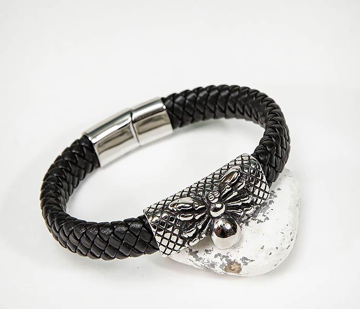 BM587 Мужской браслет «Паук» из плетеной кожи