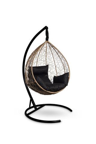 Подвесное кресло-кокон SEVILLA горячий шоколад + каркас + черная подушка