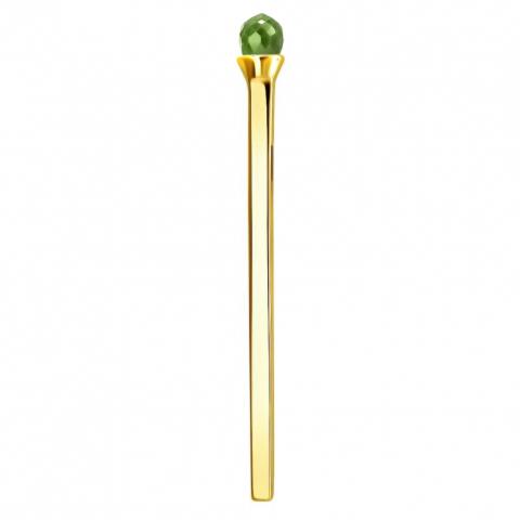 01П333558-4- Подвеска спичка с хризолитом из желтого золота 585 пробы
