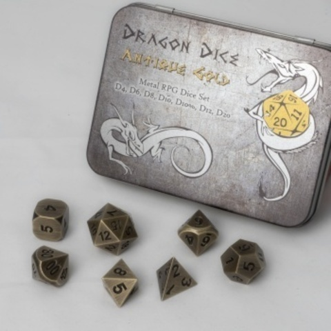 Blackfire Dice - Metal Dice Set - Antique Gold