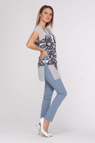 Фото свободная белая блуза с контрастным принтом и шнурком на талии - Блуза Г700б-542 (1)