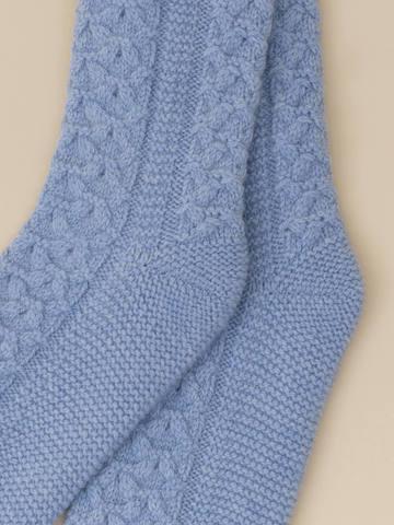 Женские носки голубого цвета из 100% кашемира - фото 2