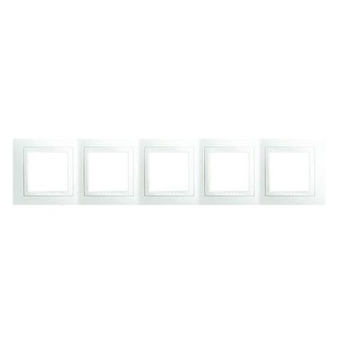 Рамка на 5 постов. Цвет Белый. Schneider electric Unica. MGU2.010.18