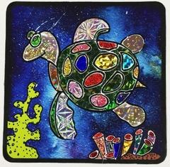 Черепаха-аппликация цветной фольгой, MH005