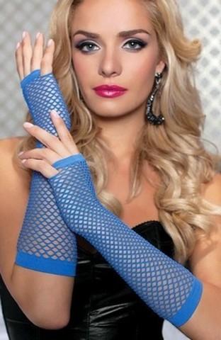 Длинные перчатки в сеточку без пальцев 2 (синие)