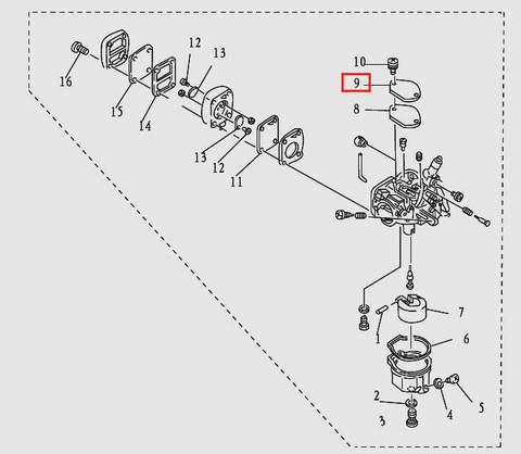 Крышка карбюратора для лодочного мотора T9.8 Sea-PRO (5-9)