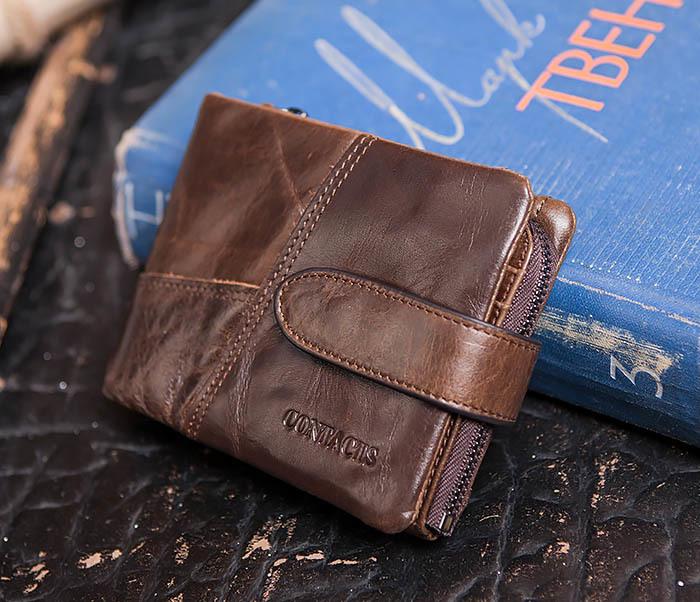 WL253-2 Мужское портмоне на застежке из натуральной кожи фото 02