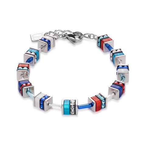 Браслет Coeur de Lion 4409/30-0703 цвет голубой, красный, синий, серебряный