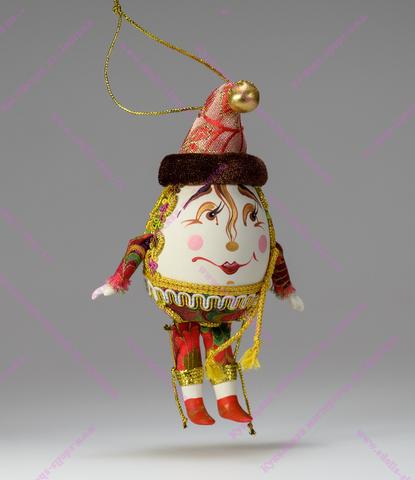 Ёлочная игрушка клоун-яйцо Петрушка