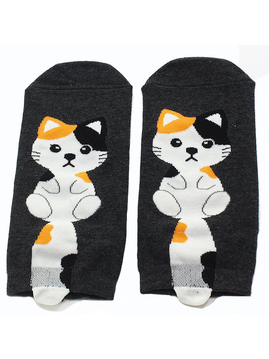 """Короткие носки """"Котята с хвостом"""" Чёрные"""