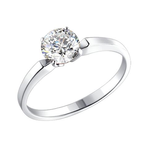 94010279- Помолвочное кольцо из серебра с фианитом