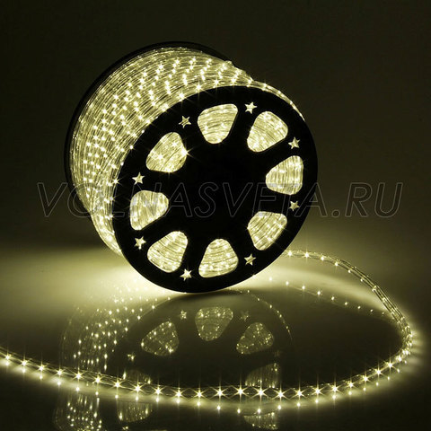 Дюралайт светодиодный, чейзинг, 11мм - 3 жилы - 24 led/m, тёплый белый - 100м
