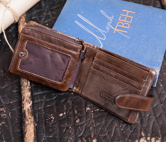 WL253-2 Мужское портмоне на застежке из натуральной кожи фото 05