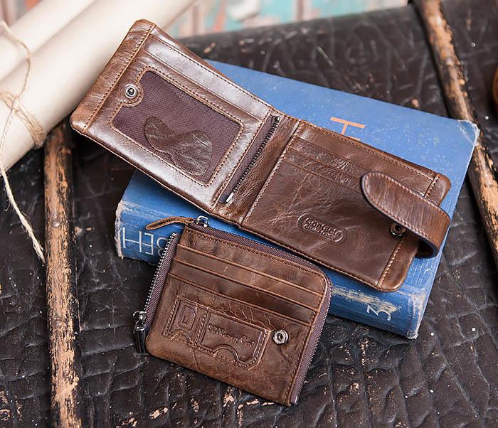 WL253-2 Мужское портмоне на застежке из натуральной кожи фото 07