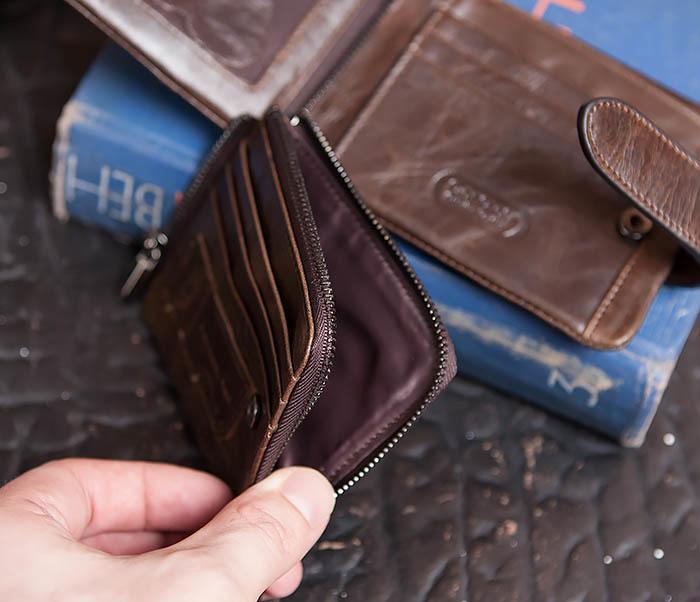WL253-2 Мужское портмоне на застежке из натуральной кожи фото 08