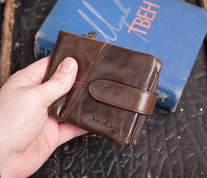 WL253-2 Мужское портмоне на застежке из натуральной кожи фото 10