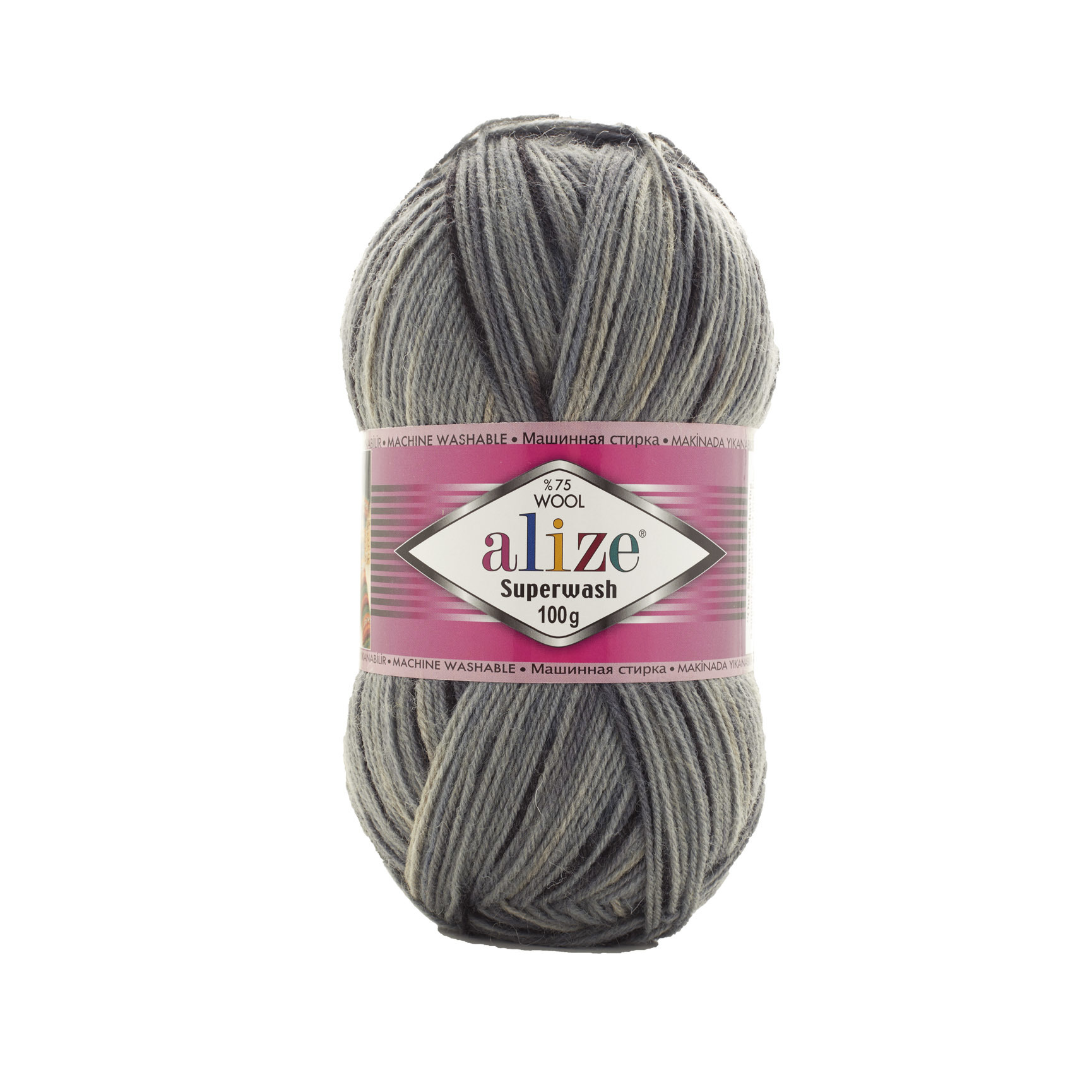 Alize Superwash 7498 серый принт