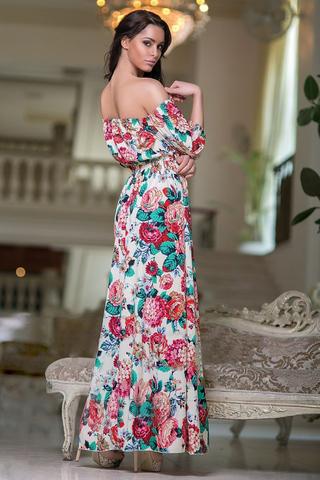 Длинное летнее платье с принтом Цветы 1