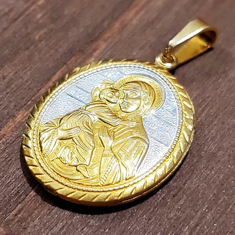 Нательная икона Пресвятой Богородицы Владимирская с позолотой кулон медальон на веревочке