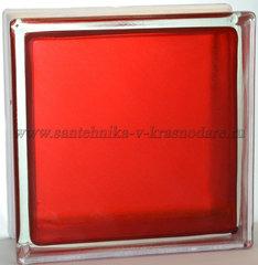 Стеклоблок арктик окрашенный изнутри красный Vitrablok 19x19x8