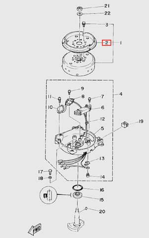 Шкив стартера для лодочного мотора T5 Sea-PRO (5-2)