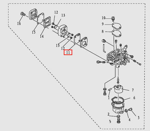 Диафрагма для лодочного мотора T9.8 Sea-PRO (5-11)