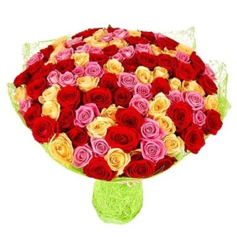 Букет из 101 розы цветной