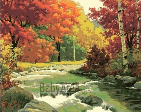 Алмазная Мозаика 30x40 Горная речка среди окрашенных осенью деревьев (арт. S3275)