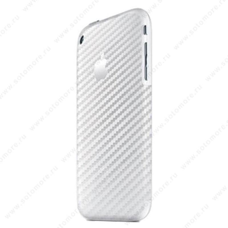 Наклейка карбон iPhone 3Gs/ 3G на заднюю часть серебряная