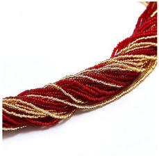 Бисерное ожерелье из 36 нитей, цвет красно-золотистый
