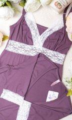 Евромама. Комплект халат и сорочка с кружевом из вискозы, лиловый вид 7