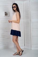 Долли. Молодежное платье с рюшей. Пудра
