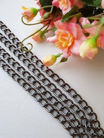Цепь звено 9,5*14 мм , длина 120 см, цвет темный никель