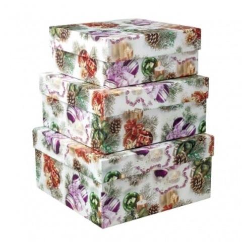 Набор коробок подарочных квадратных Новогодние Шары из 3шт., размер: 19х19х9,5 см